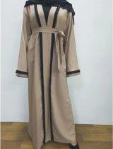 Abaya Beige met zwarte parels - Jurk vrouwen - maat M