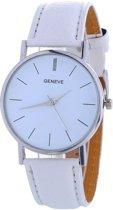 Fako Bijoux® - Horloge - Geneva - Basic - Ø 37mm - Wit