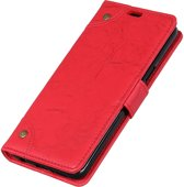 Mobigear Retro Luxe Wallet Hoesje Rood Samsung Galaxy A8 (2018)