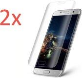 2x Screenprotector voor Samsung Galaxy S7 Edge - Edged (3D) Tempered Glass Screenprotector Transparant 9H (Gehard Glas Screen Protector)