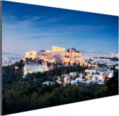 Verlichte Akropolis Aluminium 120x80 cm - Foto print op Aluminium (metaal wanddecoratie)