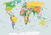 Fotobehang World Map | XL - 208cm x 146cm | 130g/m2 Vlies