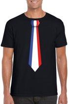 Zwart t-shirt met Franse vlag stropdas heren - Frankrijk supporter M