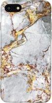Luxe marmer case voor iPhone 7 - iPhone 8 hoesje grijs - back cover soft TPU zacht