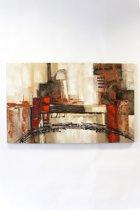 """olieverf schilderij op doek 75 bij 120 cm. """"brug abstract"""""""
