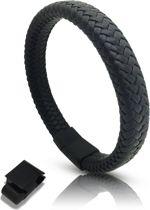 Armband microvezels zwart Galeara design  RIX met magneet sluiting 21,5cm - 22,5cm