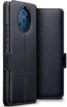 Qubits - lederen slim folio wallet hoes - Nokia 9 PureView - Zwart