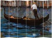 Orientique Kamerscherm 6 Panelen Gondelboot Canvas Room Divider Scheidingswand