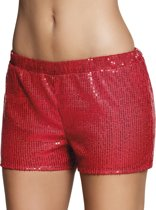 4 stuks: Hotpants Pailletten - rood - Medium