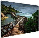 Indonesische brug Glas 120x80 cm - Foto print op Glas (Plexiglas wanddecoratie)