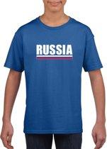 Blauw Rusland supporter t-shirt voor heren - Russische vlag shirts M (134-140)