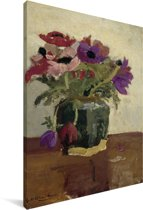 Gemberpot met anemonen - Schilderij van George Hendrik Breitner Canvas 90x140 cm - Foto print op Canvas schilderij (Wanddecoratie woonkamer / slaapkamer)
