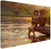 Rivierwater in Azie  Canvas 80x60 cm - Foto print op Canvas schilderij (Wanddecoratie)