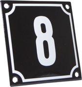 Emaille huisnummer zwart/wit nr. 8 10x10cm