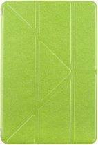 Let op type!! iPad Pro 12.9 inch horizontaal Zijde structuur PU leren Flip Hoesje met houder en doorschijnend back cover (groen)