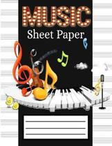 Music Sheet Paper: Music Manuscript Paper, Staff Paper, Musicians Notebook - Perfect for Learning (100 pages, 12 Staves per Page) Awesome