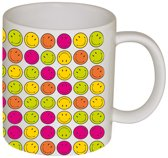Zak!Designs Smiley All Over koffiebeker - 35 cl - Assorti - Set van 6 stuks