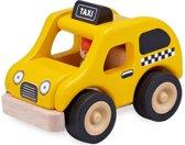 Houten speelgoedvoertuig Taxi geel