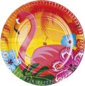 48 stuks: Set a 6 Bordjes Flamingo - Hibiscus - 23cm