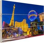 Las Vegas Strip bij schemering Hout 160x120 cm - Foto print op Hout (Wanddecoratie) XXL / Groot formaat!