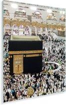 Oceaan van mensen verzamelt zich rond Kaaba Plexiglas 120x160 cm - Foto print op Glas (Plexiglas wanddecoratie) XXL / Groot formaat!
