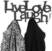 Miadomodo - Wandgarderobe met: LIVE, LOVE, LAUGH Design | Voorzien van 6 Haken | Garderobe Kapstok