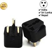 TravelBuddy Reisstekker – EU naar India - Zuid-Afrika - Type D stekker - Plug - Universele reis stekker - Reis Verloopstekker - Wereldstekker - Oplader - Adapter - Zwart