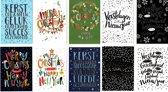 50 Luxe Kerst- en Nieuwjaarskaarten - 9,5x14cm  - 10 x 5 dubbele kaarten met enveloppen - serie Letters