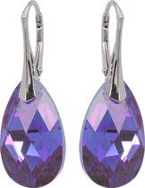 Oorbellen met Swarovski Kristallen Druppel Tanzanite Blue AB - 925 zilver - 22MM