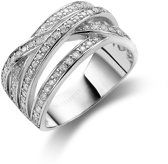 Twice As Nice ring in zilver, 4 rijen gezet met zirkonia Wit 60