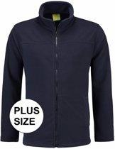 Grote maten navy fleece vest met rits voor volwassenen 2XL