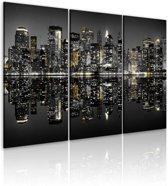 Schilderij - New York City - Glinsterend, Goud/grijs, 3luik