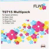 FLWR - Epson T0715 multipack zwart en kleur - Geschikt voor Epson
