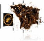 Schilderij - Wereldkaart - Wereld bij Nacht, 5luik