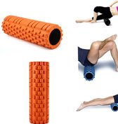 Fitness Foam Roller - Yoga Workout Roll - Pilates / Body Rug Massage Rol The Grid Roller - 34CM Oranje