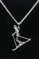 Zilveren Skiër ketting hanger - 3
