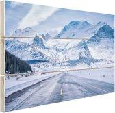Besneeuwde bergen Hout 80x60 cm - Foto print op Hout (Wanddecoratie)