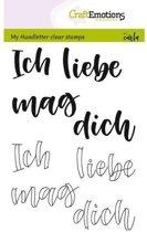 CraftEmotions stempel A6 - handletter - Ich liebe dich Duits
