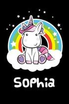 Sophia: Personalized Name Notebook Blank Journal For Girls Or Women With Unicorn