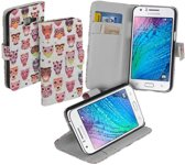 Wit uil design booktype Samsung Galaxy J1 hoesje