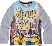Minions-T-shirt-met-lange-mouw-grijs - Maat 104
