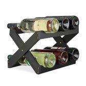 relaxdays wijnrek bamboe 6 flessen - flessenrek x-vorm - zwart