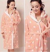 Dames badjas - sterren motief - capuchon badjas - 100% fleece - maat L/XL