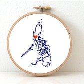 Phillipines borduurpatroon - geprint telpatroon om een kaart van de Phillipijnen te borduren met een hart voor Manilla  - geschikt voor een beginner