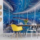 Fotobehang Modern 3D Tech Tunnel Blue   VEXXL - 312cm x 219cm   130gr/m2 Vlies