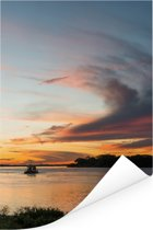 Prachtige zonsondergang bij de Pantanal Poster 80x120 cm - Foto print op Poster (wanddecoratie woonkamer / slaapkamer)