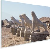 Zonnestralen op De Leeuwen van Delos in Griekenland Plexiglas 60x40 cm - Foto print op Glas (Plexiglas wanddecoratie)