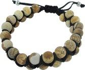 Frank 1967 7FB-0101 - Natuurstenen armband - twee rijen - rope en Jaspis steen 8 mm - one-size - bruin / zilverkleurig