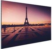 Eiffeltoren bij zonsondergang Parijs Aluminium 90x60 cm - Foto print op Aluminium (metaal wanddecoratie)