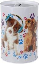 Honden met koptelefoon spaarpot 15 cm - Puppy met koptelefoon spaarpot 15 cm
